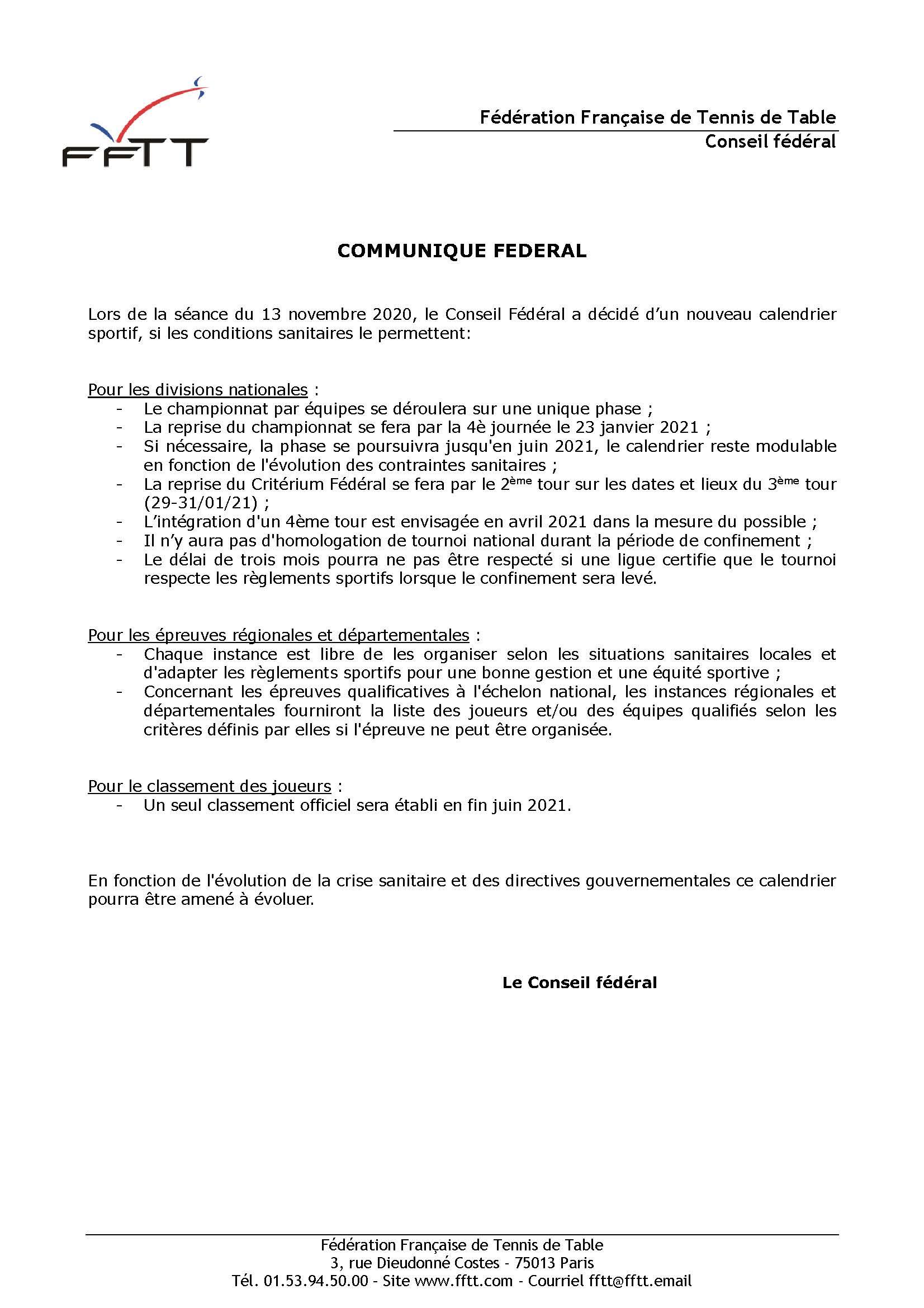 Communiqué de presse FFTT | ASC DES AUXONS TENNIS DE TABLE
